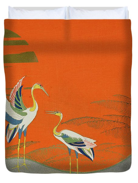 Birds At Sunset On The Lake Duvet Cover by Kamisaka Sekka