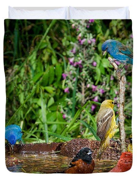Birds Bathing Duvet Cover by Anthony Mercieca