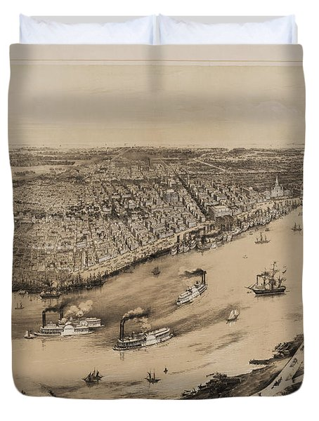 Birds Eye View Of New Orleans 1852 Duvet Cover by Digital Reproductions