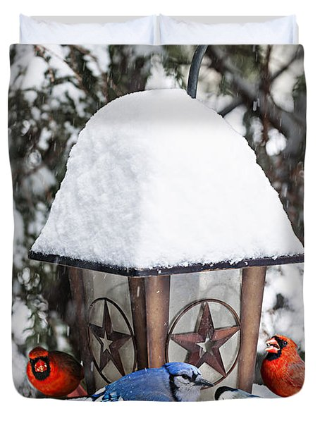 Birds On Bird Feeder In Winter Duvet Cover by Elena Elisseeva