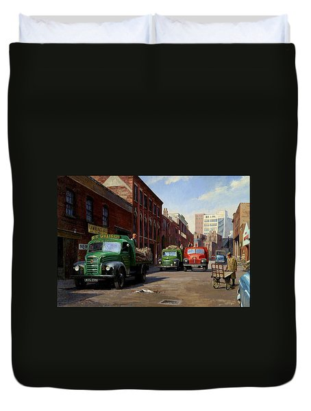 Birmingham Fruit And Veg Market. Duvet Cover by Mike  Jeffries