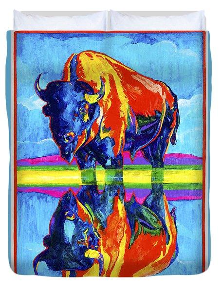Bison Reflections Duvet Cover by Derrick Higgins
