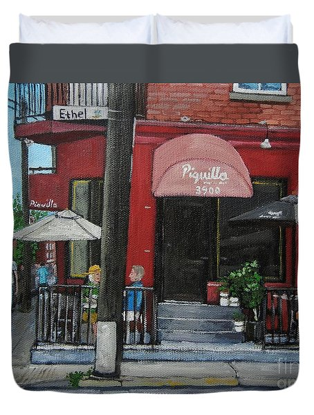 Bistro Piquillo In Verdun Duvet Cover by Reb Frost