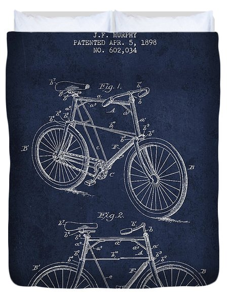 Bisycle Patent Drawing From 1898 Duvet Cover by Aged Pixel