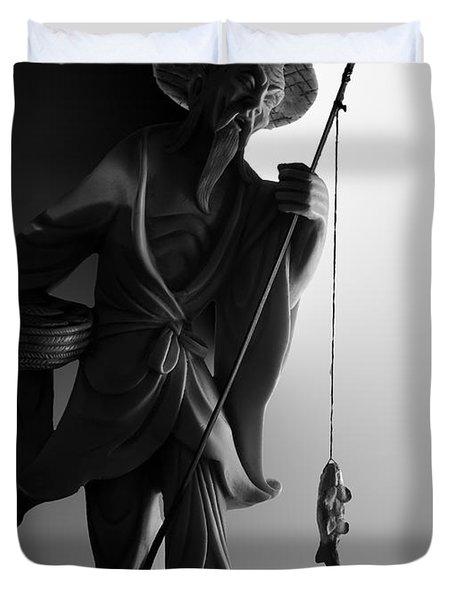 Black And White Ivory Fisherman Duvet Cover by Sean Kirkpatrick