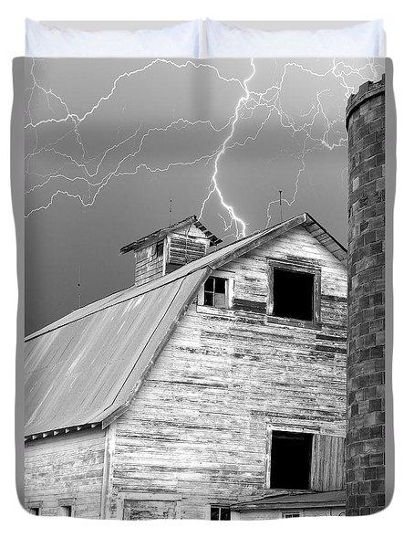 Black And White Old Barn Lightning Strikes Duvet Cover by James BO  Insogna