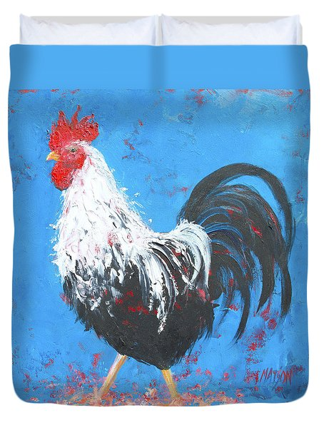 Black And White Rooster On Blue  Duvet Cover by Jan Matson