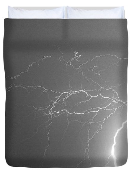 Black And White Tropical Thunderstorm Night  Duvet Cover by James BO  Insogna