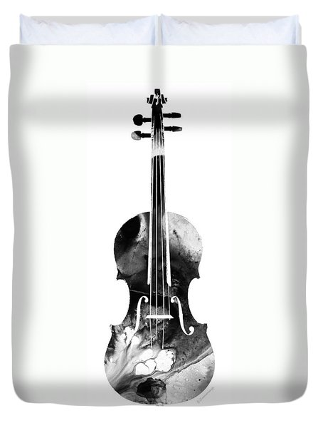 Black And White Violin Art By Sharon Cummings Duvet Cover by Sharon Cummings