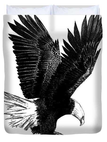 Black and White with Pen and Ink drawing of American Bald Eagle  Duvet Cover by Mario  Perez