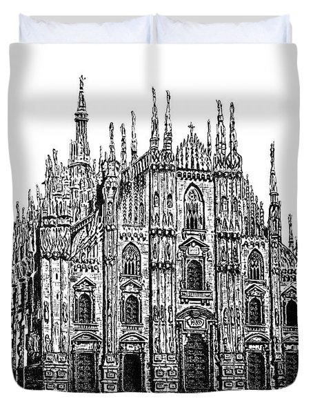 Black And White With Pen And Ink Drawing Of Milan Cathedral  Duvet Cover by Mario Perez