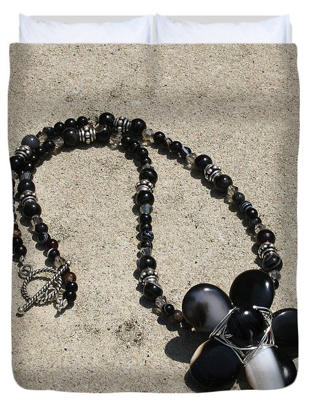 Black Banded Onyx Wire Wrapped Flower Pendant Necklace 3634 Duvet Cover by Teresa Mucha