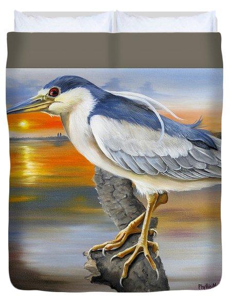 Black Crowned Night Heron At The Jordan Duvet Cover by Phyllis Beiser