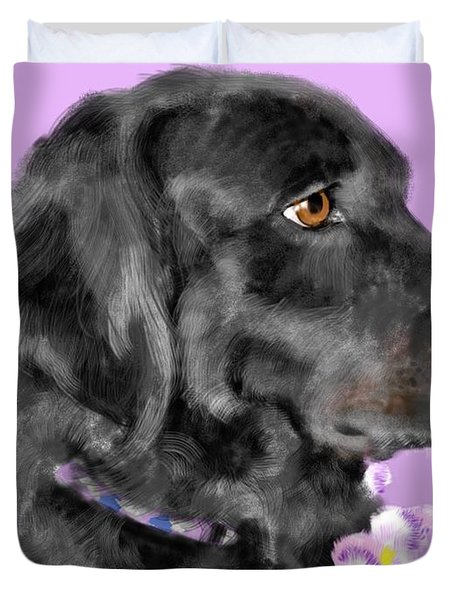 Black Dog Pretty In Lavender Duvet Cover by Lois Ivancin Tavaf