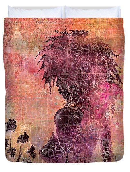 Black Flower Duvet Cover by Rachel Christine Nowicki