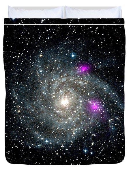 Black Holes In Spiral Galaxy Nasa Duvet Cover by Rose Santuci-Sofranko