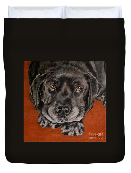 Black Labrador Rests Head Rescue Dog Duvet Cover by Amy Reges