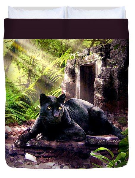 Black Panther Custodian Of Ancient Temple Ruins  Duvet Cover by Regina Femrite