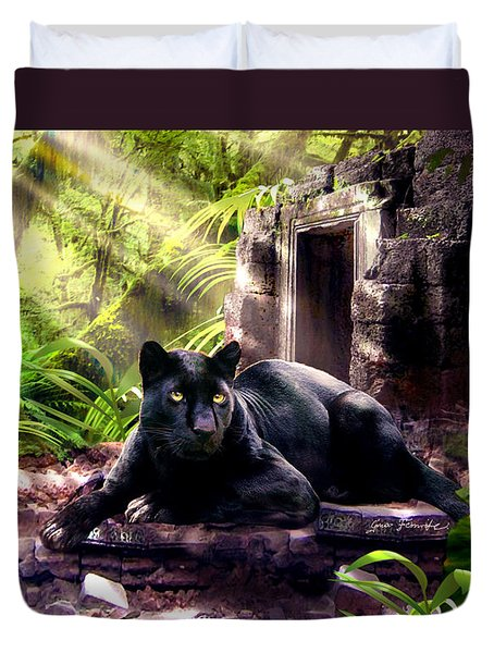 Black Panther Custodian Of Ancient Temple Ruins  Duvet Cover by Gina Femrite