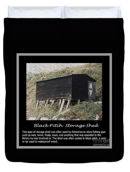 Black Pitch Storage Shed Duvet Cover by Barbara Griffin