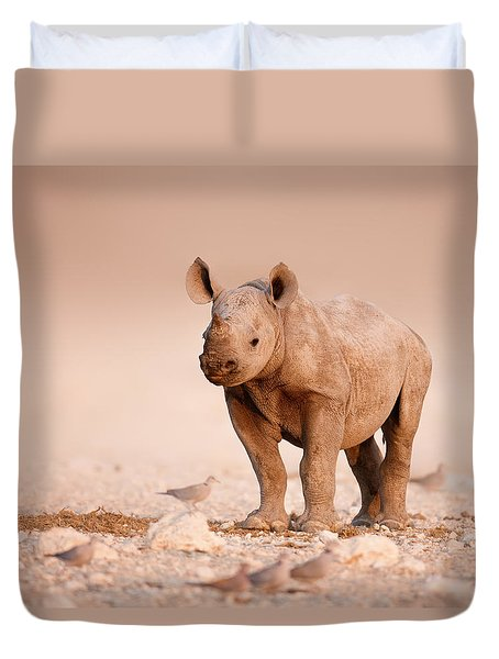 Black Rhinoceros baby Duvet Cover by Johan Swanepoel