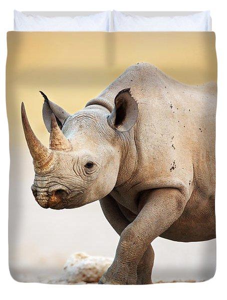 Black Rhinoceros Duvet Cover by Johan Swanepoel
