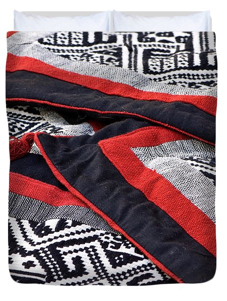 Black Thai Fabric 04 Duvet Cover by Rick Piper Photography