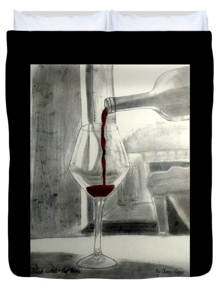 Black White And Red Wine Duvet Cover by Chenee Reyes