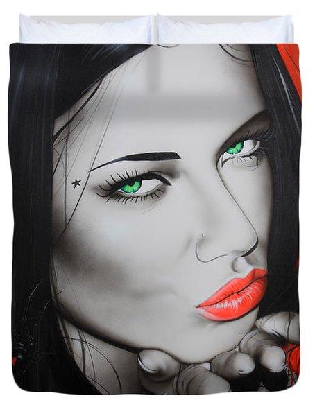 'Black Widow' Duvet Cover by Christian Chapman Art