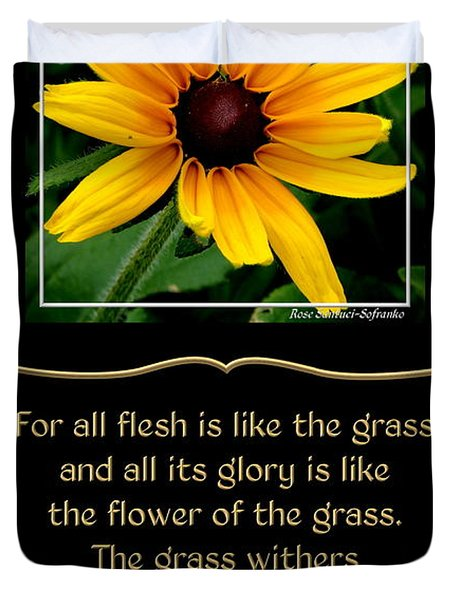 Blackeyed Susan With Bible Quote From 1 Peter Duvet Cover by Rose Santuci-Sofranko
