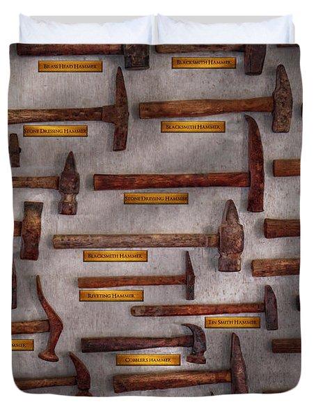 Blacksmith - Tools - Pounding Headache  Duvet Cover by Mike Savad