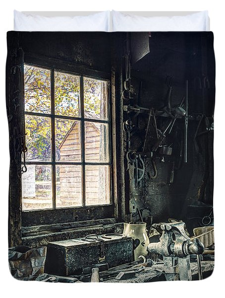 Blacksmiths Workbench - One October Afternoon Duvet Cover by Gary Heller