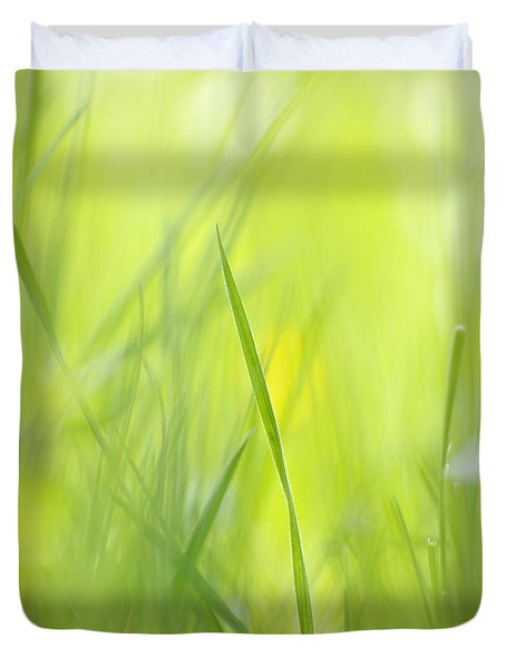 Blades Of Grass - Green Spring Meadow - Abstract Soft Blurred Duvet Cover by Matthias Hauser