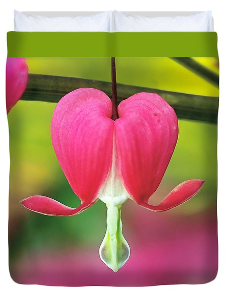Bleeding Heart Duvet Cover by Rona Black