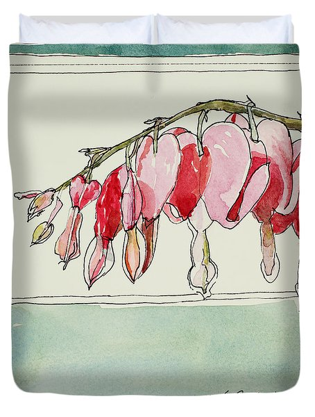 Bleeding Hearts II Duvet Cover by Mary Benke