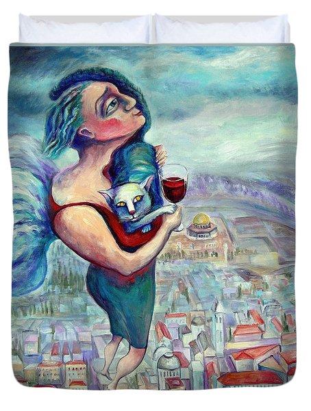 BLESSING OVER THE WINE Duvet Cover by Elisheva Nesis