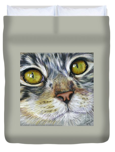 Stunning Cat Painting Duvet Cover by Michelle Wrighton