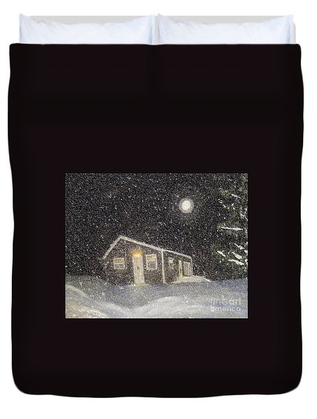 Blizzard At The Cabin Duvet Cover by Barbara Griffin