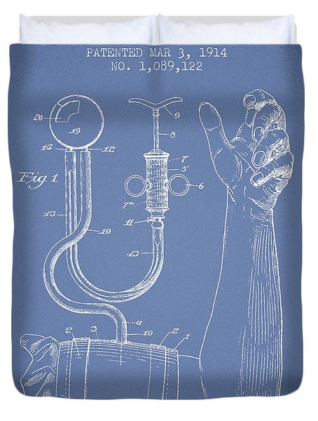 Blood Pressure Cuff Patent From 1914 -light Blue Duvet Cover by Aged Pixel