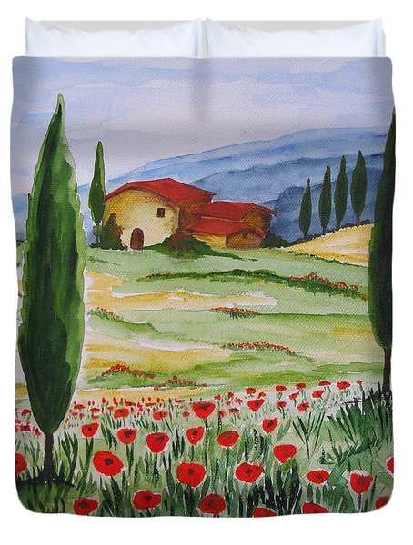 Blooming Poppy In Tuscany Duvet Cover by Christine Huwer