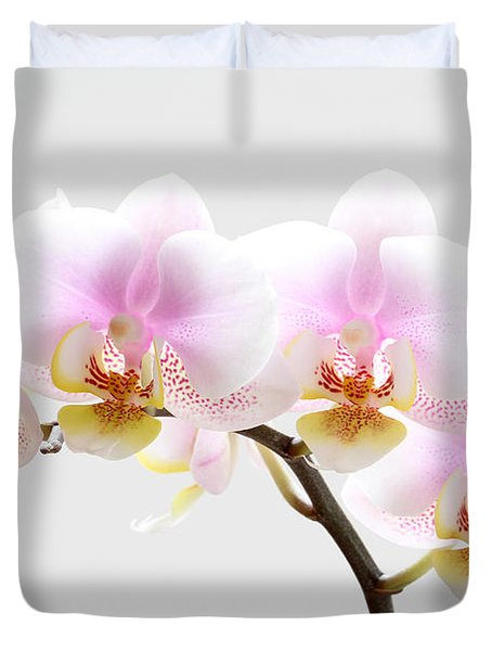 Blooms on White Duvet Cover by Juergen Roth