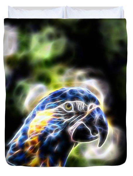 Blue And Gold Macaw V4 Duvet Cover by Douglas Barnard