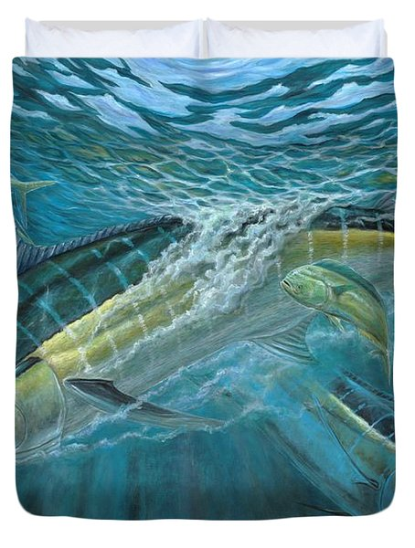 Blue And Mahi Mahi Underwater Duvet Cover by Terry Fox