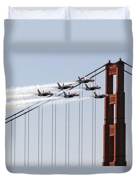 Blue Angels And The Bridge Duvet Cover by Bill Gallagher
