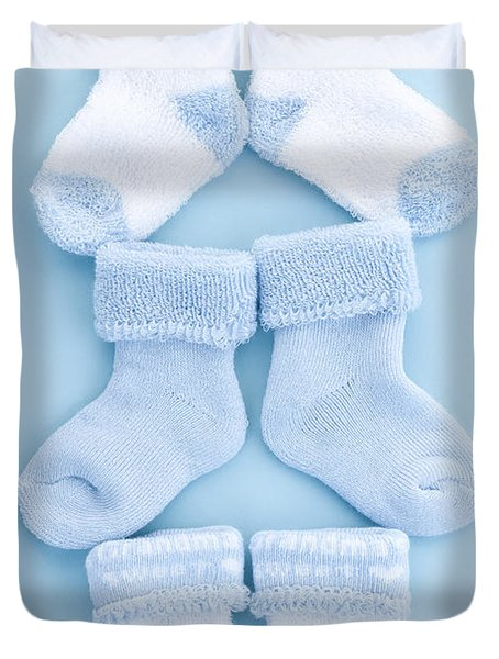 Blue baby socks Duvet Cover by Elena Elisseeva