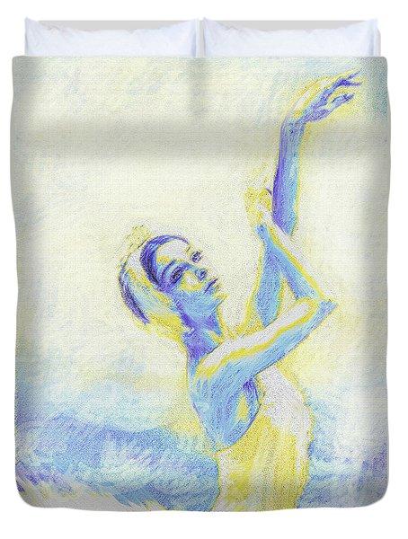 blue ballerina Duvet Cover by Jane Schnetlage