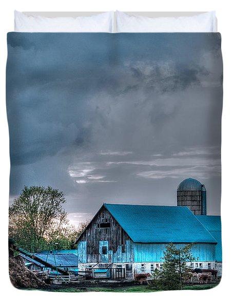 Blue Barn Duvet Cover by Bianca Nadeau