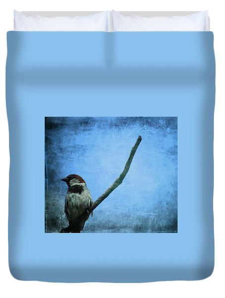 Sparrow On Blue Duvet Cover by Dan Sproul