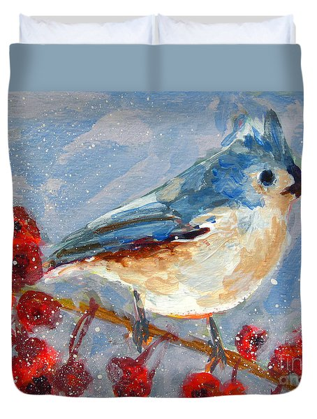 Blue Bird In Winter - Tuft Titmouse Modern Impressionist Art Duvet Cover by Patricia Awapara