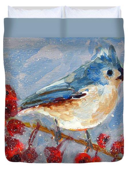 Blue Bird in Winter - Tuft titmouse Duvet Cover by Patricia Awapara